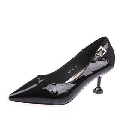 YMFIE Los Zapatos de Las Mujeres con la Primavera y el otoño señalaron los Zapatos de tacón de Aguja del Estilete de la Moda Zapatos Superficiales de la Boca A