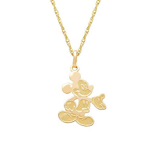 Disney Mickey Mouse 14kt Yellow Gold Classic Mickey Pendant Necklace, 15