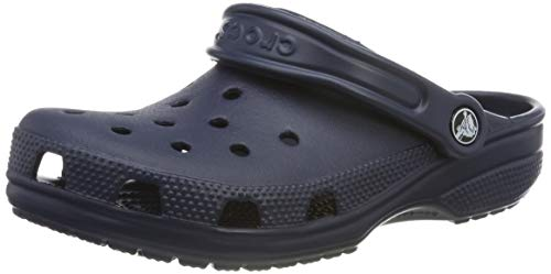 (Crocs Men's and Women's Classic Clog, Comfort Slip On Casual Water Shoe, Lightweight, Navy, 11 US Women / 9 US Men)