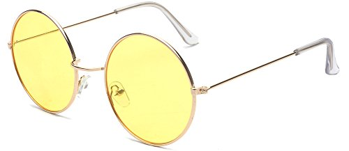 ALWAYSUV Metal Full Frame PC Round Circle Lens Retro John Lennon - Lennon Sunglasses Circle John