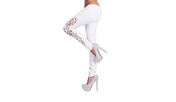 Amazon.com: Dingji Womens Lace Hollow Out Pants,Fashion Women Casual Flower Lace Insert Popular Low Waist Pants: Clothing