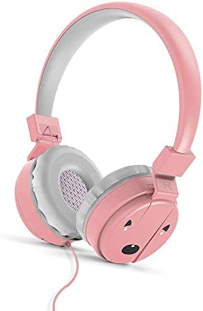 Aikwoo Kids Headphones, Foldable Over-Ear Kids Headphones, Wired Snug Play 85dB Volume Limiting Hearing Protection with Friendly Protective Materials for Kids. Pink