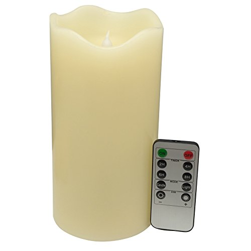 Adoria Large Ivory Flameless Candles with Timer-Auto Cycle 24-Hour Timer,Remote Vanilla Scented,4x8inch 1pc Set