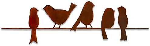 Elizabeth Keith Designs Metal Five Birds On A Wire Wall Decor Rust Color