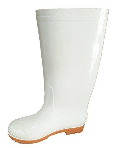 Idifu Heren Ademende Ronde Neus Waterdichte Kniehoge Regenlaarzen Lange Laarzen Wit