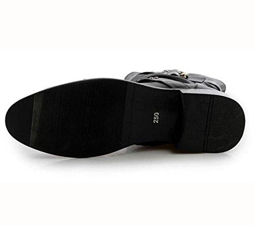 WZG Los nuevos Chelsea botas botas botas botas altas botas botas de los hombres de la motocicleta apuntaban más alto Black