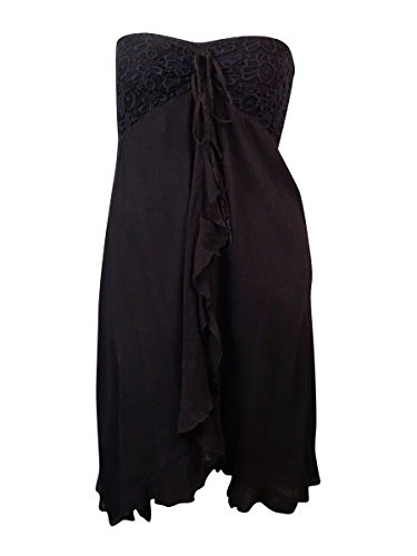Raviya Women's Strapless Ruffled Cotton Swim Cover-Up (M, Black)