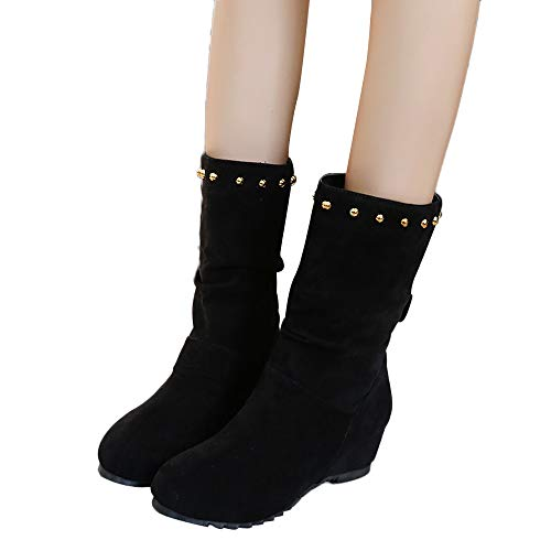 Round Shoes 35 Warm Wedges Brown Booties Black Pure Women Color Shoes Shoes Rivets Keep JERFER 43 Toe Red Black Suede xq1CUEwR