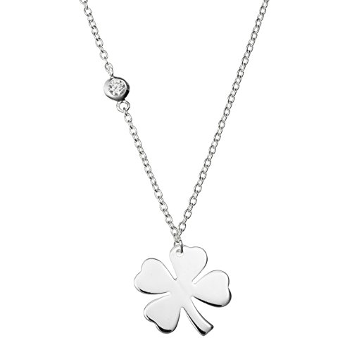 Queenberry Sterling Silver 4 Leaf Clover Luck Clear Cz Friendship Dangle Charm Necklace 16'' + 1'' Extender