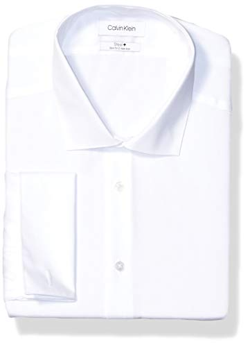 Calvin Klein Men's Non Iron Slim Fit French Cuff Dress Shirt, White, 15.5