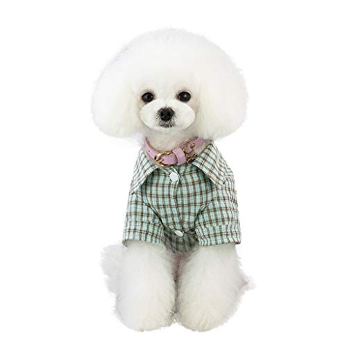 callm New Pet Dog Clothes Puppy Cat Plaid Jumpsuit Warm Cotton Pajamas -