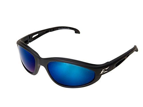 Edge Eyewear TSMAP218 Dakura Polarized Safety Glasses, Black with Aqua Precision Blue Mirror - Precision Green Polarized Lenses