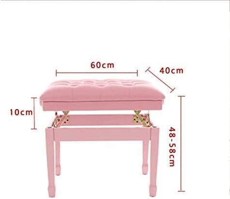 ピアノ椅子 かわいいピンクのピアノスツールかわいいソリッドウッド通気デジタルピアノ椅子調整可能 電子ピアノ用 (色 : ピンク, Size : 60x40x58cm)