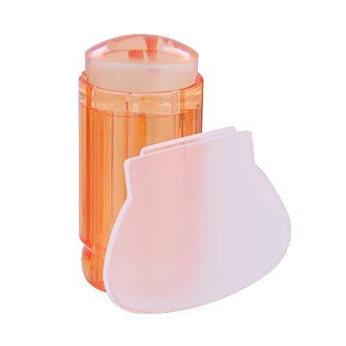 Welim Nail Stamper - Estampador de uñas de silicona transparente para decoración de uñas, color naranja