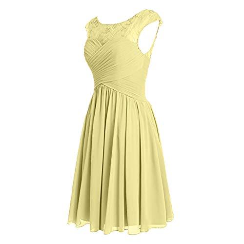 Brautjungfernkleider A Linie Spitze Ballkleider Chiffon Abendkleider Gelb Damen Sommerkleider Charmant Kurzes Elegant Rock zn8pHxY