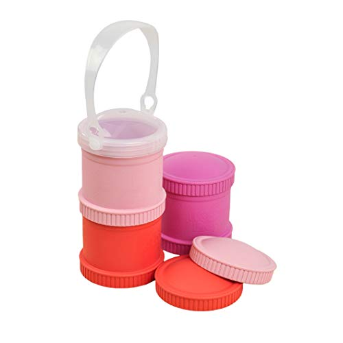 Re-Play Made in The USA 7 Piece Stackable Food and Snack Storage Containers for Babies, Toddlers and Kids of All Ages - Red, Blush, Bright Pink (Valentine)
