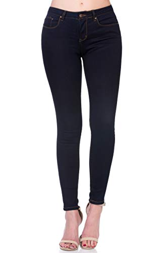 Monkey Ride Jeans Women's Retro Skinny Jeans Mid Rise Slim Stretch Denim 11, DK/Blue ()