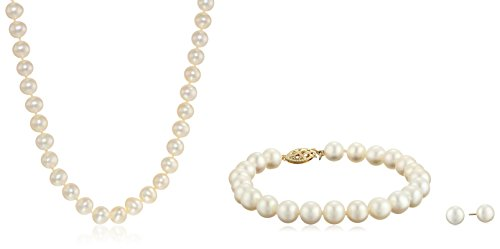 14k Yellow Gold Freshwater Cultured Pearl Necklace, Bracelet, and Earrings Set (7-8mm) (Necklaces Bracelets)