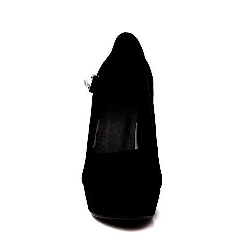 AllhqFashion Mujeres Tacón ancho Sólido Sin cordones Puntera Redonda De salón con Diamante Negro