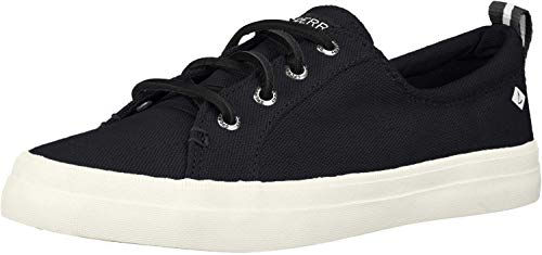 Sperry Womens Crest Vibe Linen Sneaker, Black, 9