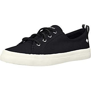 Sperry Womens Crest Vibe Linen Sneaker, Black, 8