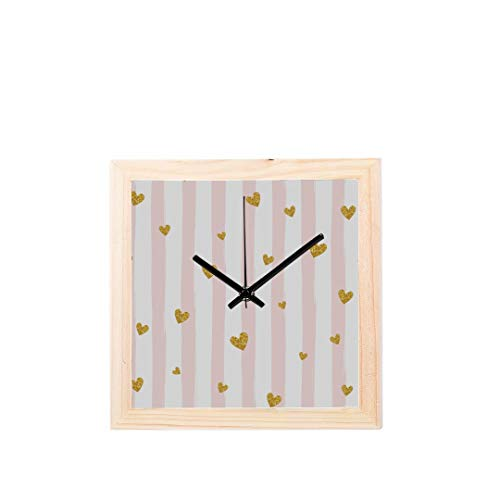Chawzie Colorful Fashion Gold Glittering Confetti Non-Ticking Square Silent Wooden Diamond Large Display Digital Battery Wall Clocks Painting Dial for Kitchen Kid Bedroom Home Office Decor