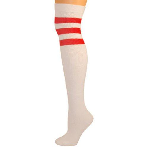 Retro Over The Knee High Tube Socks - White, Red ()