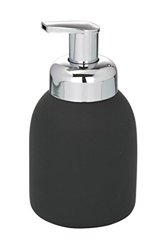 WENKO 20088100 Schaumspender Bottle Black - Soft-Touch Beschichtung, Fassungsvermögen 0.4 L, Soft-Touch Keramik, 8.5 x 16 x 8.5 cm, Schwarz