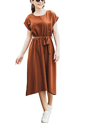 Women Loose Casual Short Sleeve Midi Empire Waist Work Dress with Pockets Khaki,XL ()