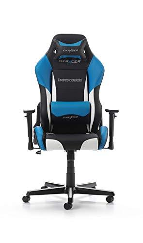 DXRacer (C) Silla D-Series OH/DM61/NWB Negra-Azul-Blanca, Incluye 2 Almohadillas