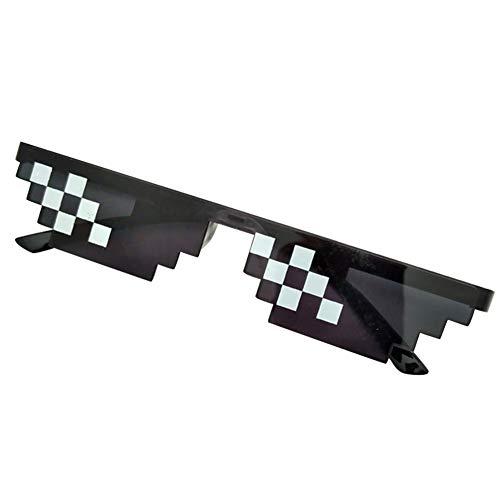 JHCHA Mannen Vrouwen MLG Pixelated Zonnebril Thug Leven Party Brillen Mozaïek Vintage Eye Wear