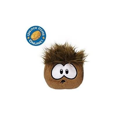 "RARE Club Penguin BROWN Surprise Face Puffle 4"" + Special Gold Coin Unlocks ""2"" Treasure Book Items YOU Choose!: Toys & Games"