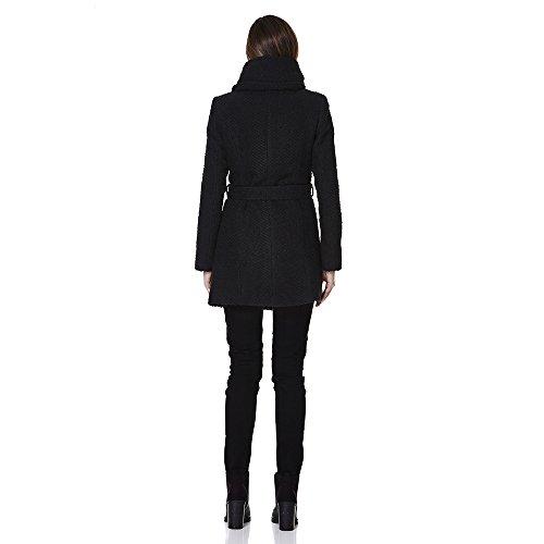 Anastasia - Abrigo de Invierno con Cinturón y Capucha de Tweed en Color Negro para Mujer Negro