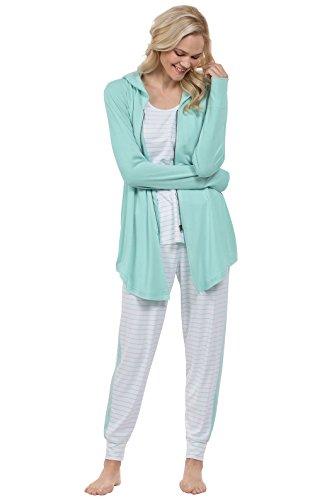 PajamaGram Womens PJs Sets Soft - Cute Women Pajamas, 3-Piece, Green, 1X, 16-18