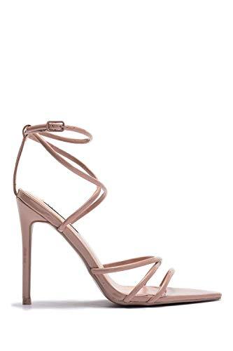 cbb26845491 CAPE ROBBIN Women s Strappy Pointy Open Toe Ankle Strap Stiletto Sandal-ADA  (11