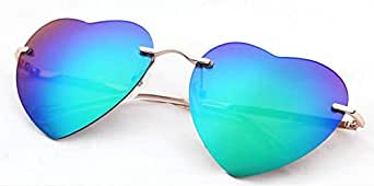Ladies no Frame Gradient Color Love Shaped Reflective Sunglasses-3041