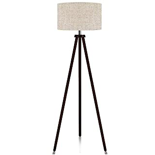 LEPOWER Wood Tripod Floor Lamp, Mid Century Standing Lamp, Standard E26 Lamp Base, Modern Design Floor Reading Lamp for Office, Study Room, Living Room and Bedroom(Walnut)