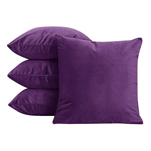 - Deconovo Home Decorative Premium Hand Made Square Pillowcases Super Soft Velvet Couch Cushion Covers 20x20 Inch Purple 4 Pcs