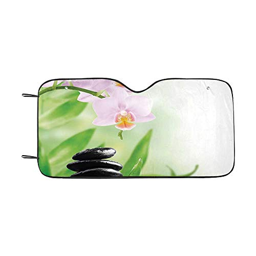 - Spa Durable Car Sunshade,Zen Basalt Stones and Orchid with Dew Peaceful Nature Theraphy Massage Meditation Decorative for car,55