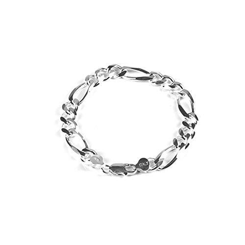 Solid Sterling Silver 10mm Men's Italian Figaro Chain 7 Inch Bracelet 10mm Silver Figaro Bracelet