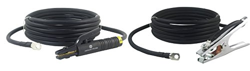 - 300 Amp Welding Leads Assembly Set - Terminal Lug Connector - #1 AWG cable (25 FEET EACH LEAD)