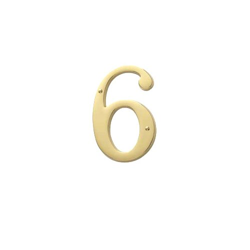 Baldwin Estate 90676.003.CD Solid Brass Traditional House Number Six in Polished Brass, (Baldwin Brass Screws)