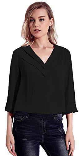 Blouse t Longue Femme Soie Casual Chemise Noir Col V 3 Manche Haut Tee Mousseline Lukis 4 Top de a78ww