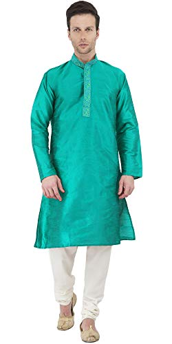 (SKAVIJ Men's Tunic Art Silk Kurta Pajama Set Party Dress (X-Large, Green))
