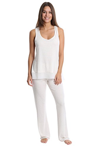 Set Ladies Pj (Nouveau Women's Light and Airy Sleepwear Set - Flowy Racerback Tank Top & Pajama Bottoms - Oatmeal, Large)