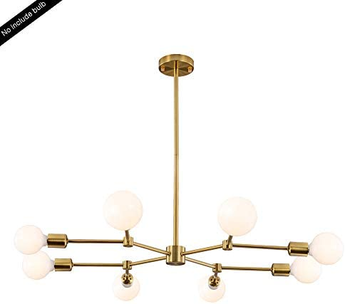 HAHZT Gold Chandelier 8 Lights Sputnik Chandelier Industrial Pendant Lighting Modern Chandelier Ceiling Chandeliers Adjustable Height