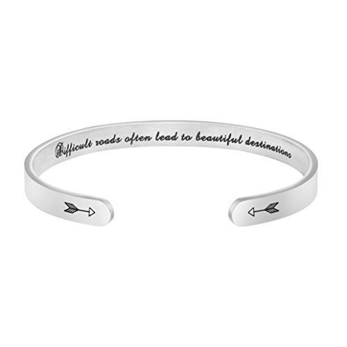 (Joycuff Difficult Roads Often Lead to Beautiful Destinations Personalized Inspirational Bracelet Sympathy Encouragement Gifts)