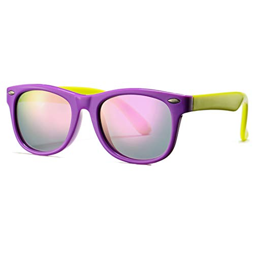 - Kids Polarized Sunglasses TPEE Rubber Flexible Shades for Girls Boys Age 3-10 (Purple Frame/Purple Mirror Lens)