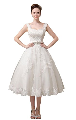 Generic Women's Spaghetti Straps Tea-length A-line Lace Short Wedding Dresses US 6