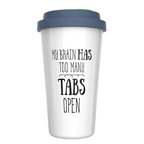 Ceramic Travel Coffee Mug with Lid (12 oz) - My Brain Has Too Many Tabs Open - Funny Mug - Gift for Office, Co-Worker, Boss, Friends or Family - Double ()